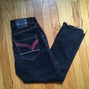 Black High Waisted Embroidered Mom Jeans